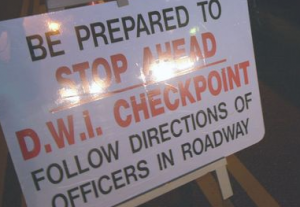 Photograph of Tinton Falls DWI Checkpoint Sign