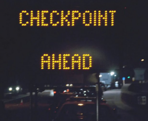 Photograph of checkpoint sign in Holmdel New Jersey