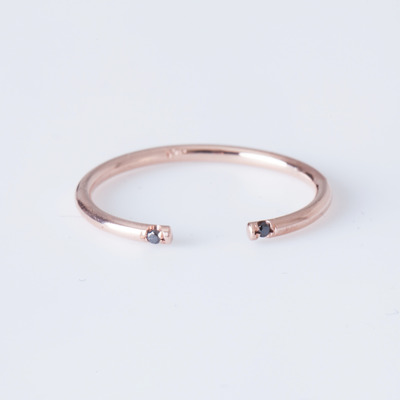Jennie Kwon Rose Gold Black 2 Diamond Cuff Ring