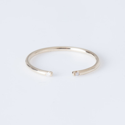 Jennie Kwon Yellow Gold White 2 Diamond Cuff Ring