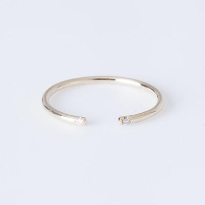 Jennie Kwon Yellow Gold White 2 Diamond Cuff Ring