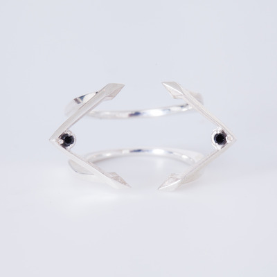Bliss Lau Black Diamond Silver Blade Ring