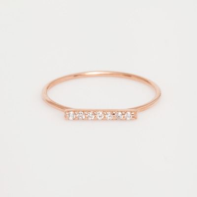 Vale Rose Gold 7 Diamond Tiny Pavé Bar Ring