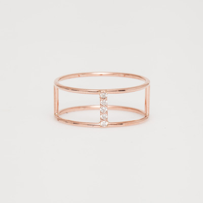 Vale Rose Gold Diamond Pavé Short Corset Ring