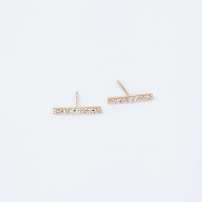 Vale Gold 7 Diamond Tiny Pavé Bar Stud Earrings