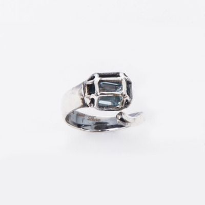 Puro Iosselliani Caged Blue Topaz Ring