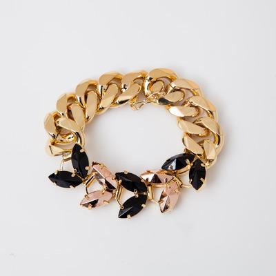 Iosselliani Black/Brass Navette Curb Link Bracelet
