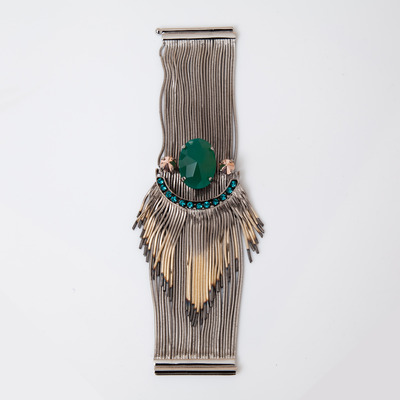 Iosselliani Green Agate Shaded Fringe Multiwire Bracelet
