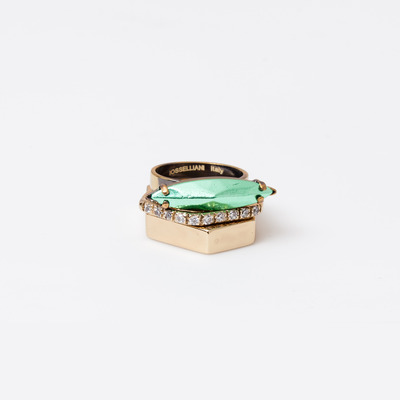Iosselliani Green Navette Ring Set