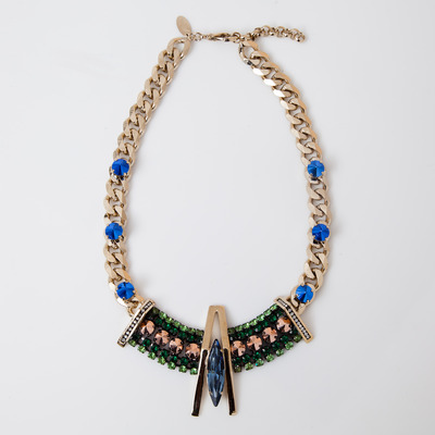 Iosselliani Geometric Bib Curb Link Necklace