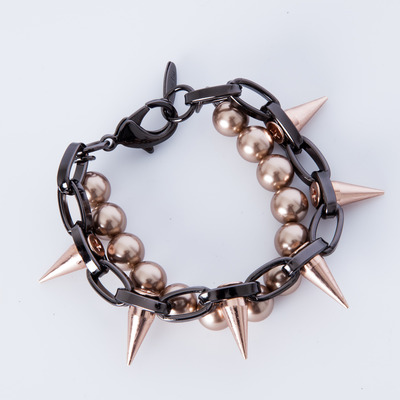 "Joomi Lim ""Lost Innocence"" Rose Gold Spike & Bronze Pearl Bracelet"