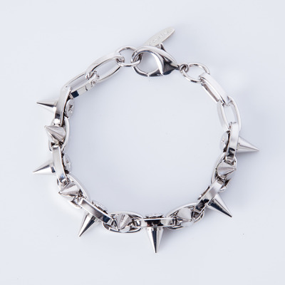 "Joomi Lim ""Metal Luxe"" Rhodium/Silver Spike Double Row Bracelet"