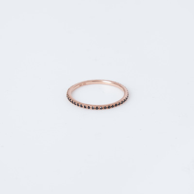 Gabriela Artigas 14K Rose Gold/Black Diamond Axis Pavé Ring