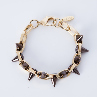 "Joomi Lim ""Metal Luxe"" Gold/Brown Spike Double Row Bracelet"