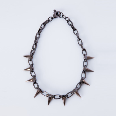 "Joomi Lim ""Metal Luxe"" Hematite/Brown Spike Single Row Choker"