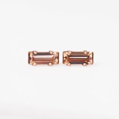Bing Bang Tiny Peach/Rose Gold Baguette Studs