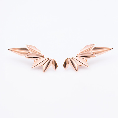 Maria Black Rose Gold Wing Stud Earrings