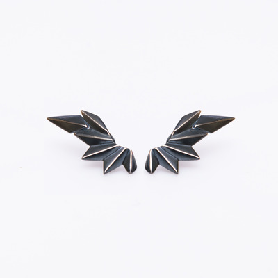 Maria Black Black Wing Stud Earrings