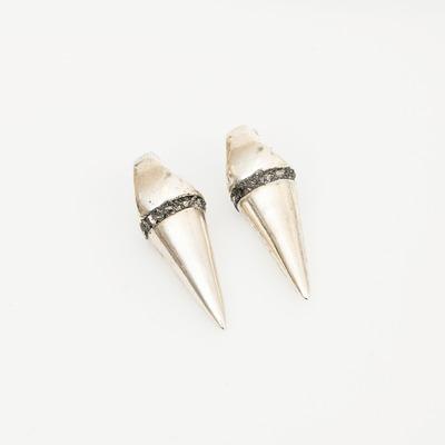 Lady Grey Silver Axis Earrings