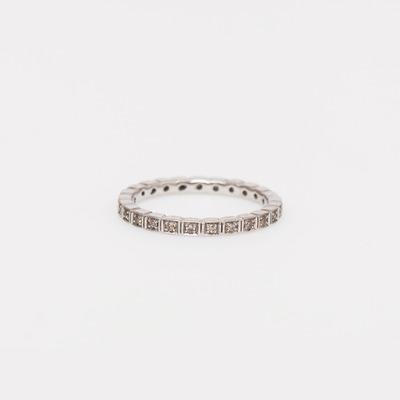 Anna Sheffield Champagne Diamond Pavé Wheat Memory Ring