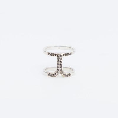Bliss Lau Black Diamond Pavé Silver Anchor Ring