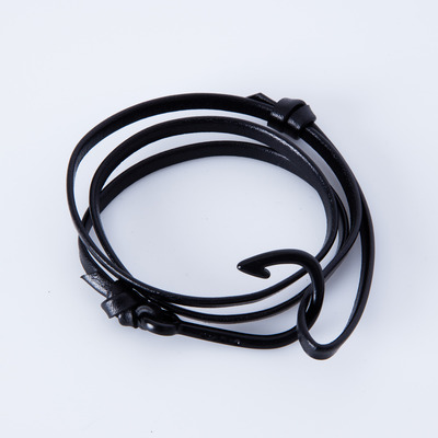 Miansai Hooked Black Leather Bracelet Black Enamel