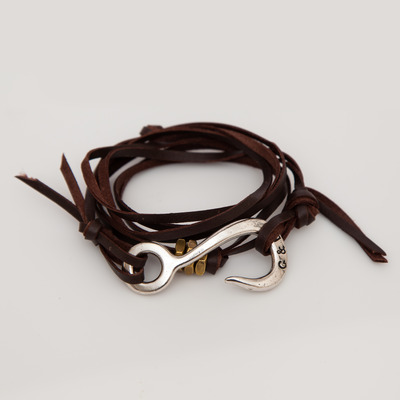 Giles & Brother Brown Leather Lash Silver Hook Bracelet