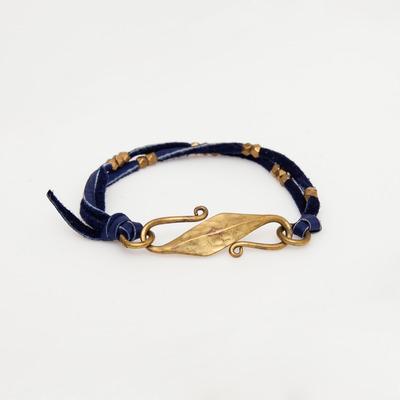 Marisa Mason Blue Saratoga Beaded Leather Bracelet