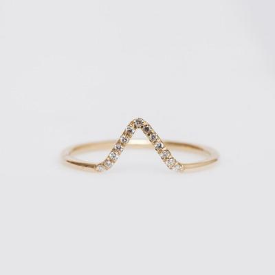 WWAKE 14K Gold/White Diamond Micropavé Triangle Ring