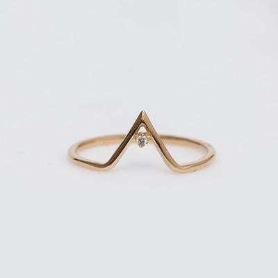 WWAKE 14K Gold Diamond Triangle Ring