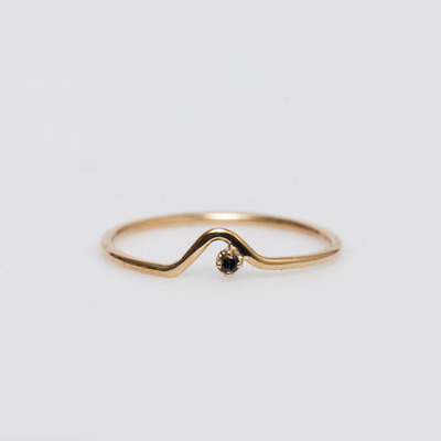 WWAKE 10K Gold/Black Diamond Triangle Lineage Ring