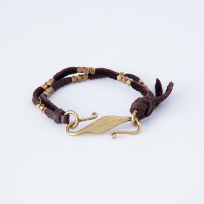 Marisa Mason Brown Saratoga Beaded Leather Bracelet