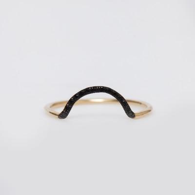WWAKE 14K Gold/Black Diamond Micropavé Small Arc Ring
