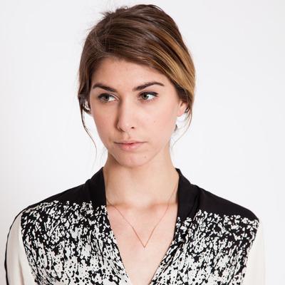 Gabriela Artigas 10K Rose Gold Teardrop V Pendant Necklace
