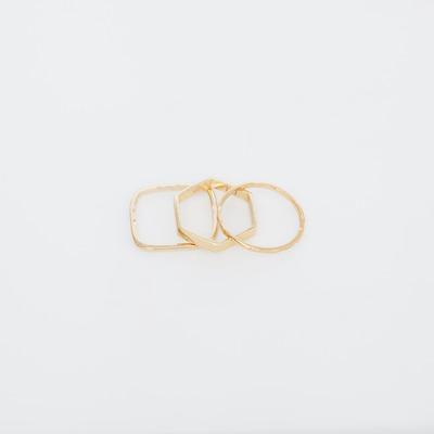 Bing Bang Gold Geometric Ring Set