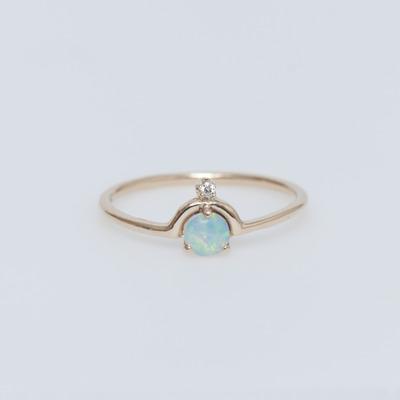 WWAKE 14K Gold Nestled Opal & Diamond Ring