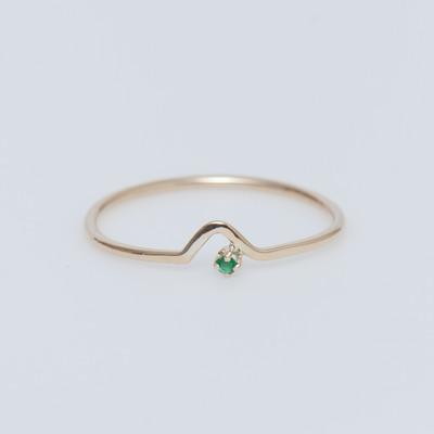 WWAKE 10K Gold/Emerald Triangle Lineage Ring