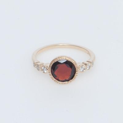 Vale 14K Gold Garnet & White Diamond Aurora Ring
