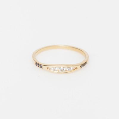 Jennie Kwon White & Black Diamond Float Ring