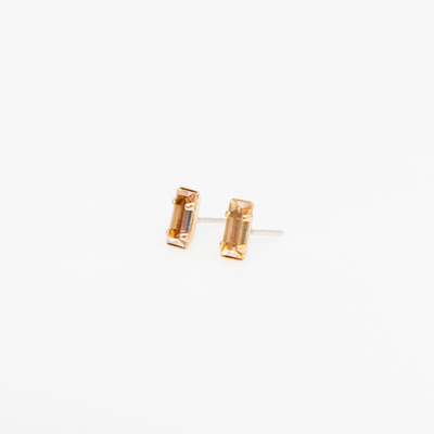 Bing Bang Gold/Champagne Tiny Baguette Studs