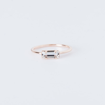 Bing Bang Tiny Baguette Ring Rose Gold Plated