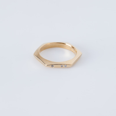 Gabriela Artigas Three-Diamond Hexagon Ring 14K Gold Plated