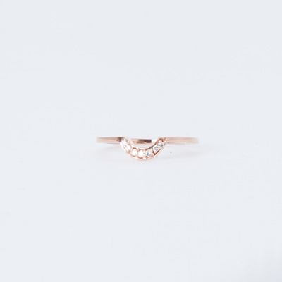 Anna Sheffield Tiny Crescent Ring 14K Rose Gold