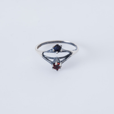 Puro Iosselliani Double Bridge Sapphire & Garnet Ring