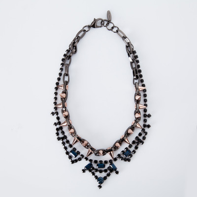 "Joomi Lim ""Metal Luxe"" Jet/Blue Crystal & Rose Gold Spike Necklace"