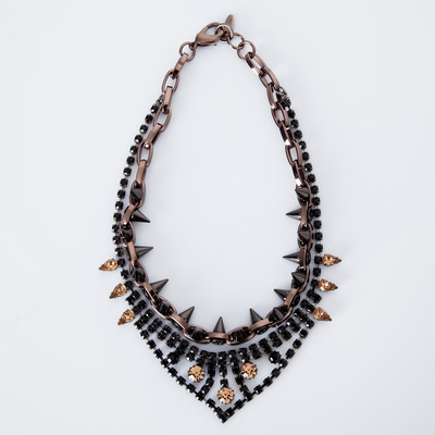 "Joomi Lim ""Metal Luxe"" Jet/Brown Crystal & Hematite Spike Necklace"