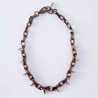 "Joomi Lim ""Metal Luxe"" Brown/Rose Gold Spike Double Row Choker"