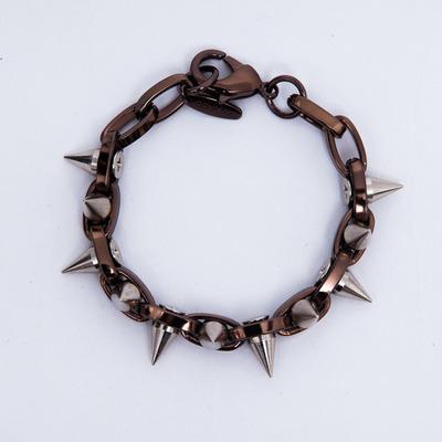"Joomi Lim ""Metal Luxe"" Hematite/Silver Spike Double Row Bracelet"