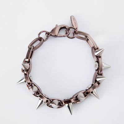 "Joomi Lim ""Metal Luxe"" Brown/Silver Spike Double Row Bracelet"