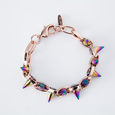 "Joomi Lim ""Future Perfect"" Rose Gold/Rainbow Spike Double Row Bracelet"